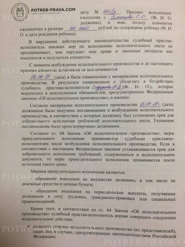 Заявление (жалоба) в арбитражный суд об оспаривании действий судебного пристава-исполнителя - образец