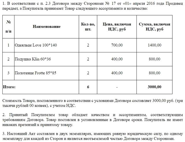 Акт приема-передачи товара по количеству и качеству к договору купли-продажи товара